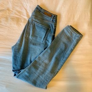Garage Light Wash High Waisted Distressed Jeans